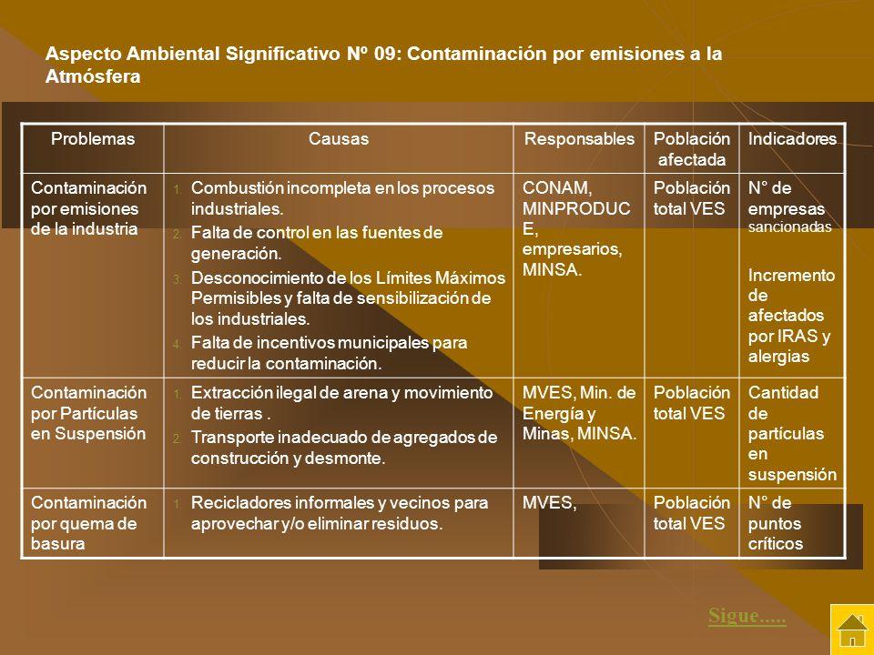 ProblemasCausasResponsablesPoblación afectada Indicadores Contaminación por emisiones de la industria 1. Combustión incompleta en los procesos industr