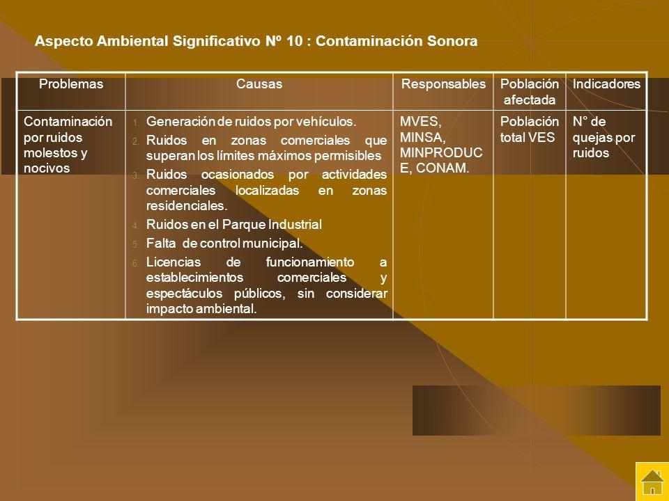ProblemasCausasResponsablesPoblación afectada Indicadores Contaminación por ruidos molestos y nocivos 1. Generación de ruidos por vehículos. 2. Ruidos