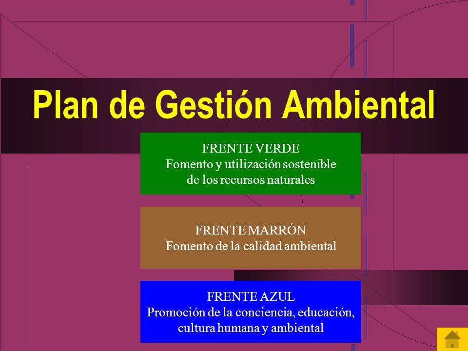 Plan de Gestión Ambiental FRENTE VERDE Fomento y utilización sostenible de los recursos naturales FRENTE MARRÓN Fomento de la calidad ambiental FRENTE