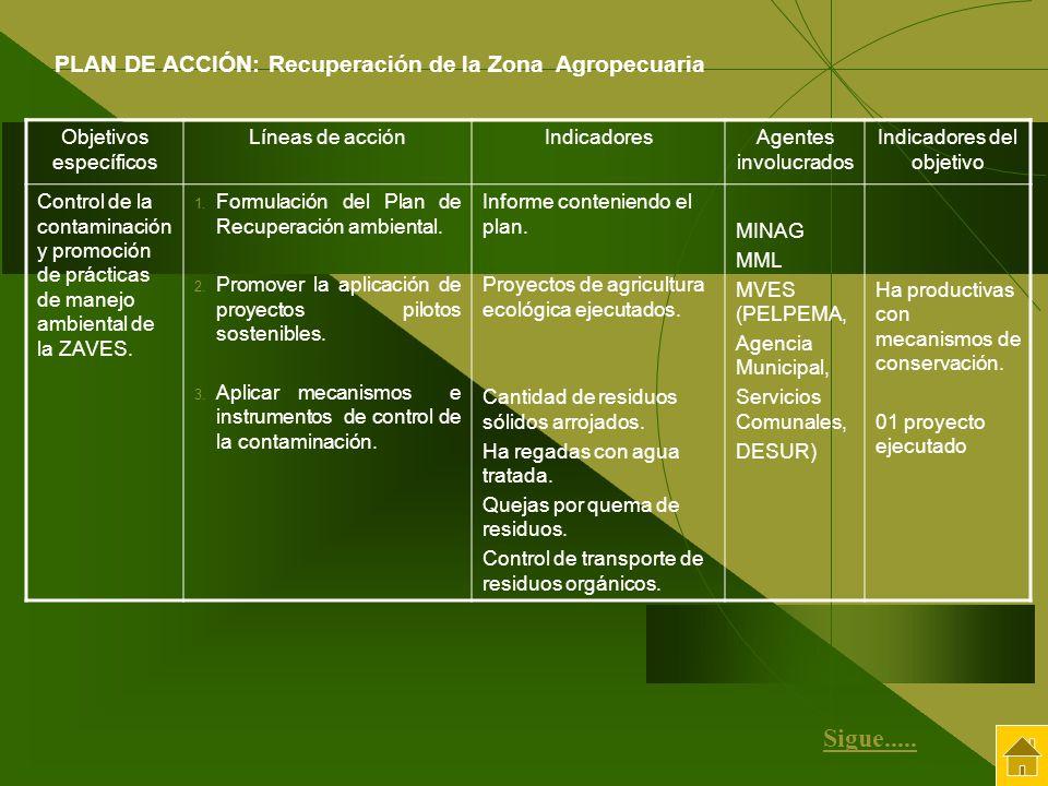 Objetivos específicos Líneas de acciónIndicadoresAgentes involucrados Indicadores del objetivo Control de la contaminación y promoción de prácticas de