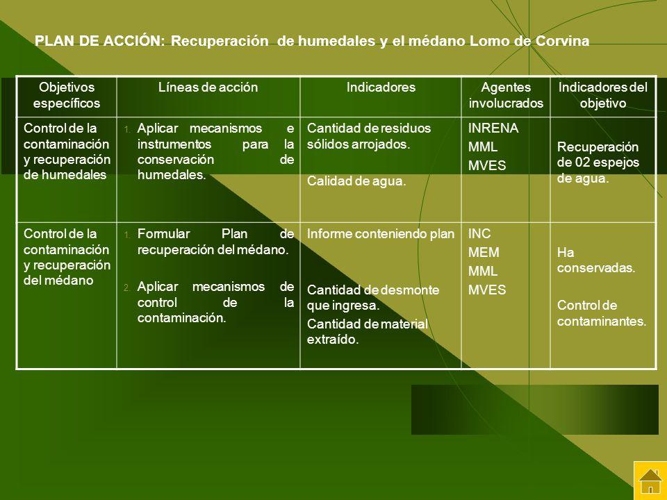 Objetivos específicos Líneas de acciónIndicadoresAgentes involucrados Indicadores del objetivo Control de la contaminación y recuperación de humedales