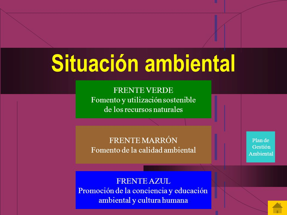 Situación ambiental FRENTE VERDE Fomento y utilización sostenible de los recursos naturales FRENTE MARRÓN Fomento de la calidad ambiental FRENTE AZUL