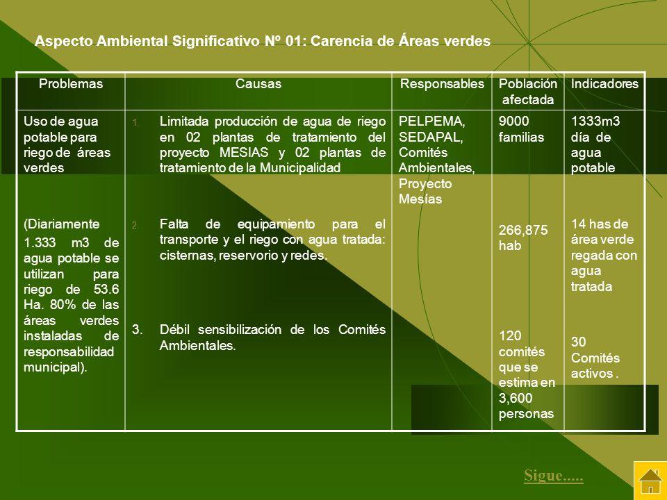 ProblemasCausasResponsablesPoblación afectada Indicadores Uso de agua potable para riego de áreas verdes (Diariamente 1.333 m3 de agua potable se util