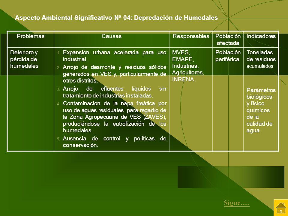 ProblemasCausasResponsablesPoblación afectada Indicadores Deterioro y pérdida de humedales 1. Expansión urbana acelerada para uso industrial. 2. Arroj