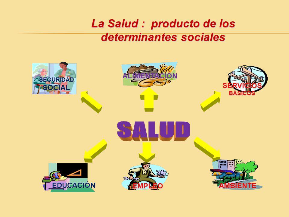 La Salud : producto de los determinantes sociales EDUCACIÓN ALIMENTACIÓN SERVICIOS BÁSICOS SEGURIDAD SOCIAL EMPLEO AMBIENTE