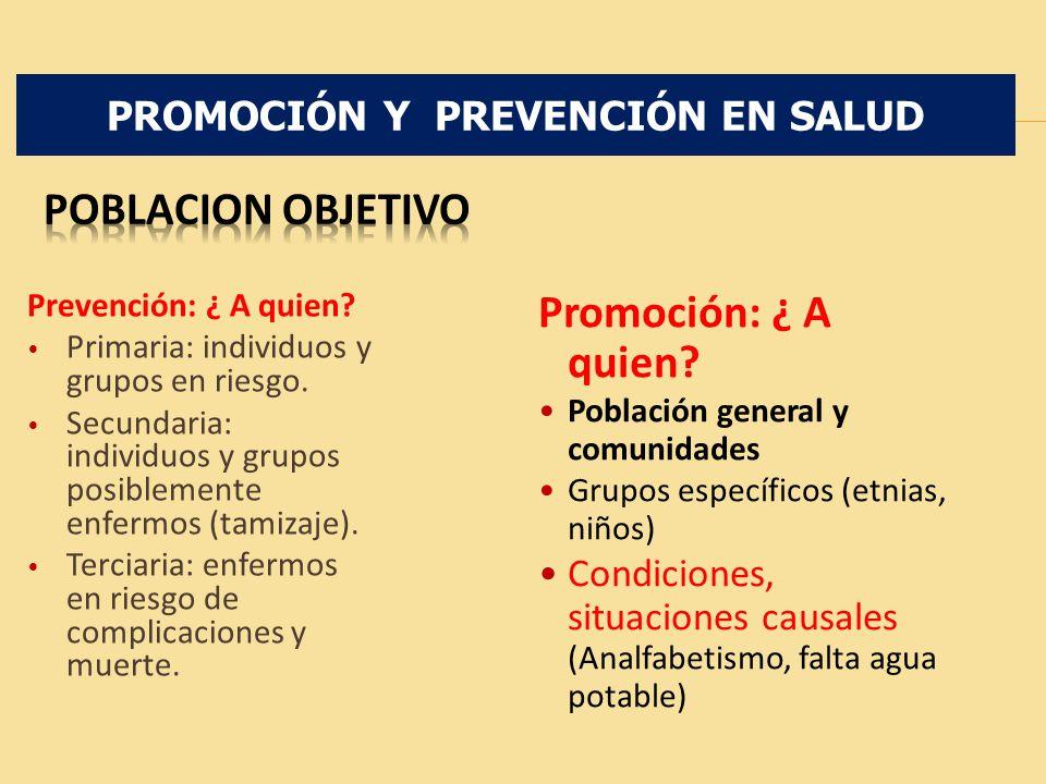 Prevención: ¿ A quien? Primaria: individuos y grupos en riesgo. Secundaria: individuos y grupos posiblemente enfermos (tamizaje). Terciaria: enfermos