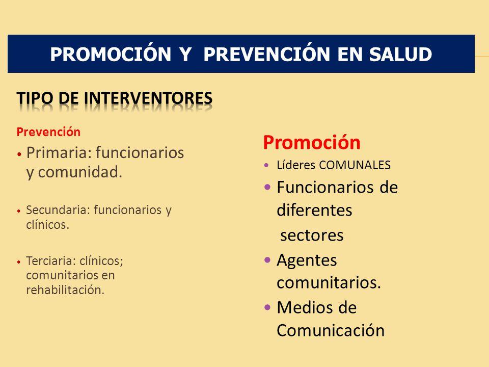 Prevención Primaria: funcionarios y comunidad. Secundaria: funcionarios y clínicos. Terciaria: clínicos; comunitarios en rehabilitación. Promoción Líd