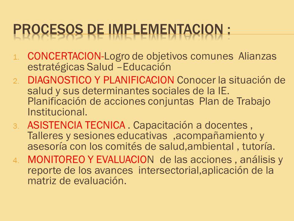 1. CONCERTACION-Logro de objetivos comunes Alianzas estratégicas Salud –Educación 2. DIAGNOSTICO Y PLANIFICACION Conocer la situación de salud y sus d