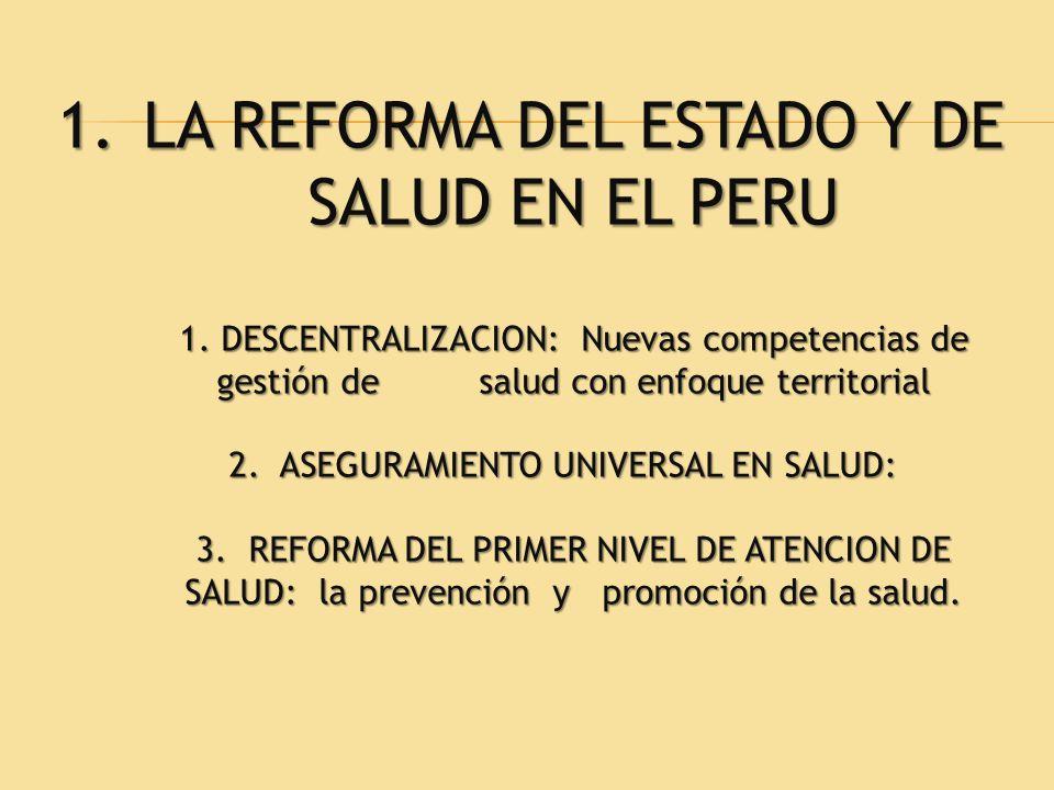 1.LA REFORMA DEL ESTADO Y DE SALUD EN EL PERU 1. DESCENTRALIZACION: Nuevas competencias de gestión de salud con enfoque territorial 2. ASEGURAMIENTO U