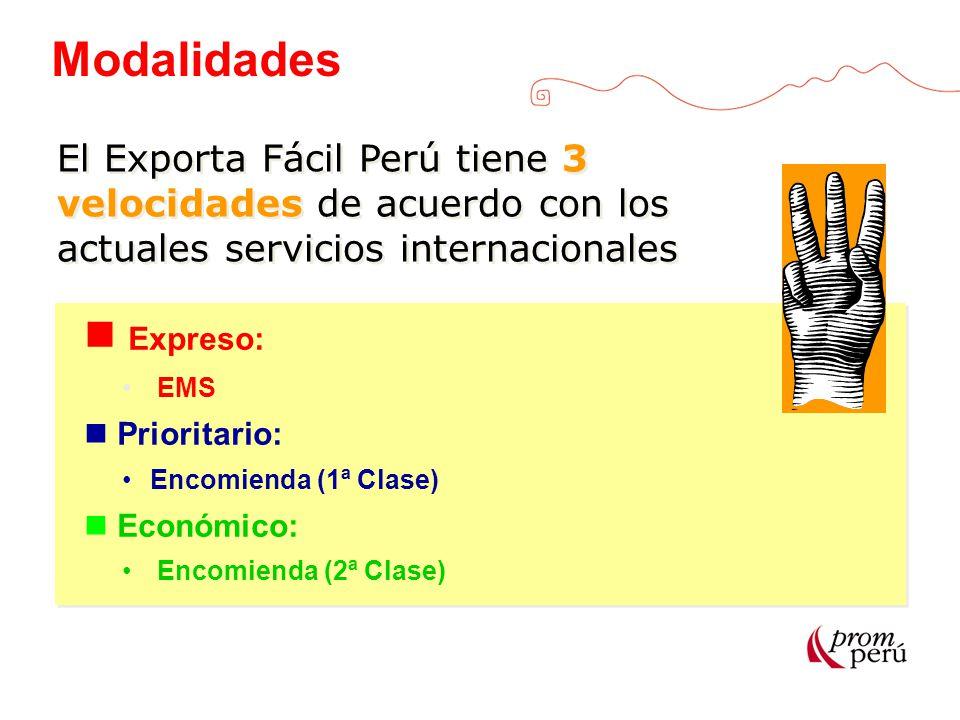 Modalidades Expreso: EMS Prioritario: Encomienda (1ª Clase) Económico: Encomienda (2ª Clase) Expreso: EMS Prioritario: Encomienda (1ª Clase) Económico