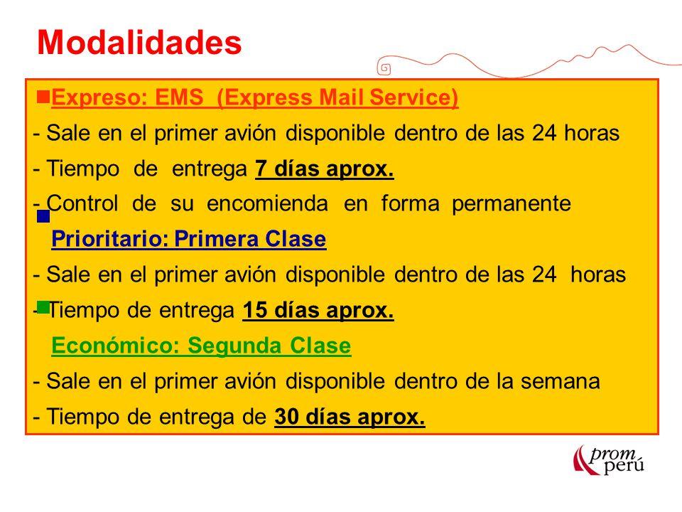 Modalidades Expreso: EMS (Express Mail Service) - Sale en el primer avión disponible dentro de las 24 horas - Tiempo de entrega 7 días aprox. - Contro