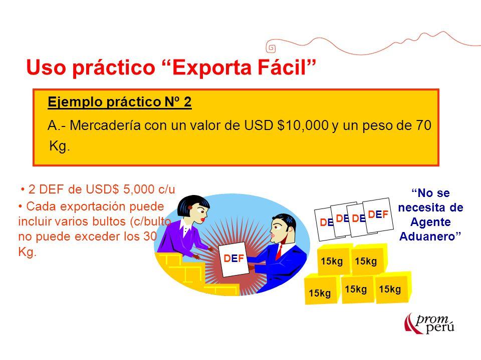Uso práctico Exporta Fácil Ejemplo práctico Nº 2 A.- Mercadería con un valor de USD $10,000 y un peso de 70 Kg. DEFDEF No se necesita de Agente Aduane