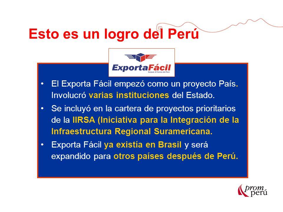 Esto es un logro del Perú El Exporta Fácil empezó como un proyecto País. Involucró varias instituciones del Estado. Se incluyó en la cartera de proyec