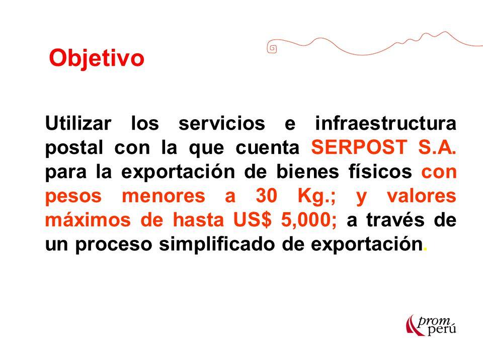 Objetivo Utilizar los servicios e infraestructura postal con la que cuenta SERPOST S.A. para la exportación de bienes físicos con pesos menores a 30 K