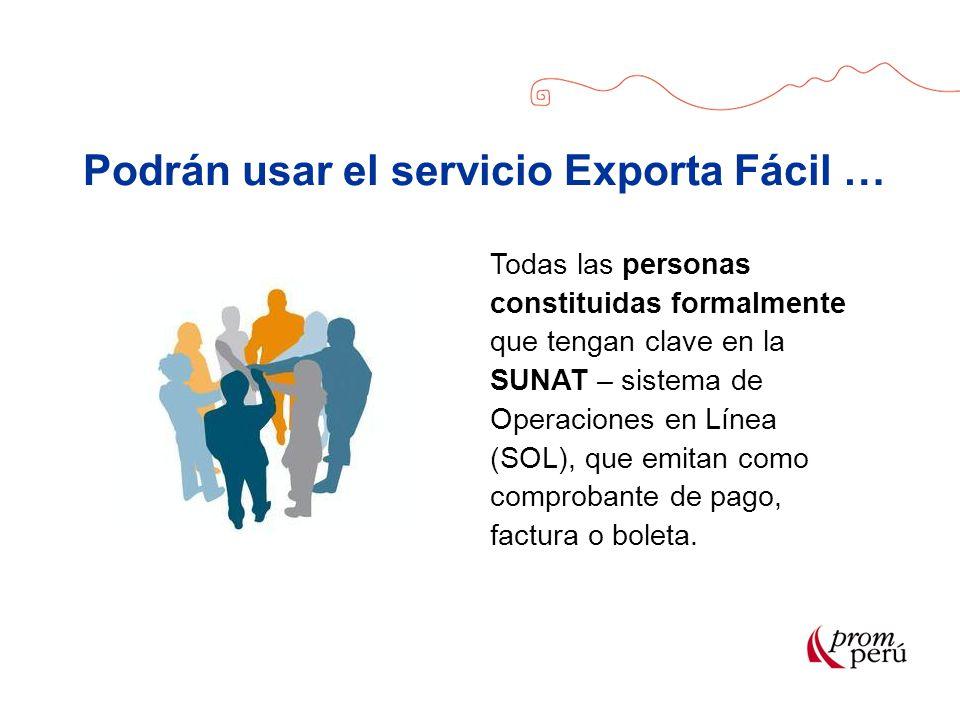 Podrán usar el servicio Exporta Fácil … Todas las personas constituidas formalmente que tengan clave en la SUNAT – sistema de Operaciones en Línea (SO