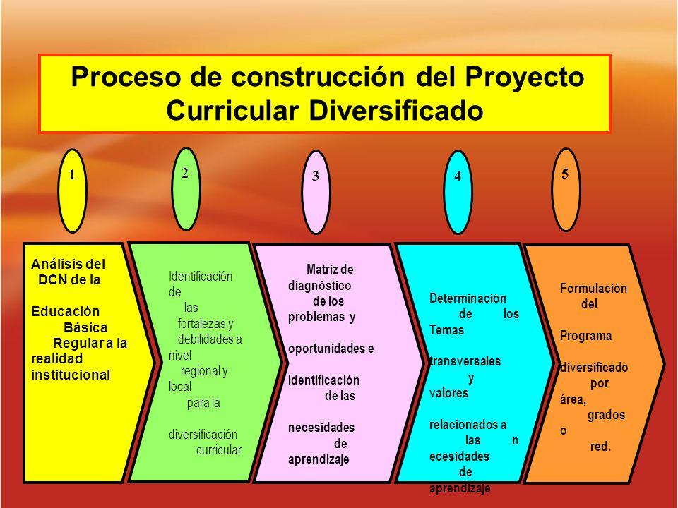 Proceso de construcción del Proyecto Curricular Diversificado Análisis del DCN de la Educación Básica Regular a la realidad institucional Determinació