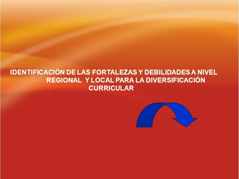 IDENTIFICACIÓN DE LAS FORTALEZAS Y DEBILIDADES A NIVEL REGIONAL Y LOCAL PARA LA DIVERSIFICACIÓN CURRICULAR