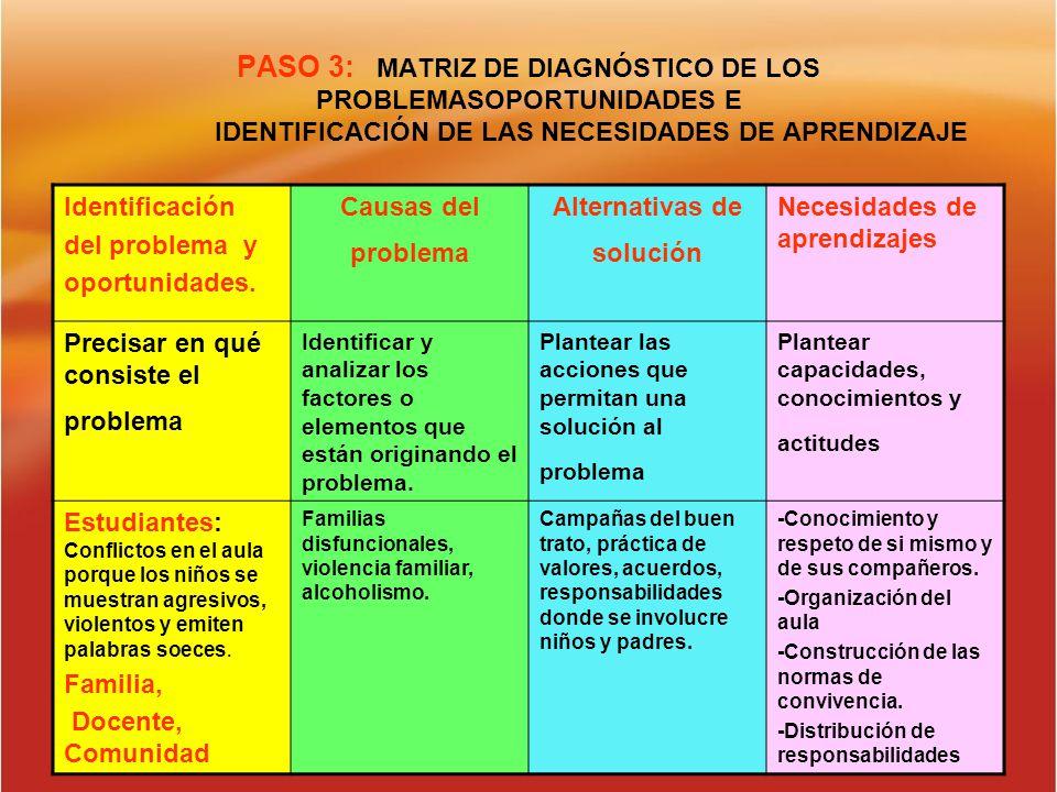 PASO 3: MATRIZ DE DIAGNÓSTICO DE LOS PROBLEMASOPORTUNIDADES E IDENTIFICACIÓN DE LAS NECESIDADES DE APRENDIZAJE Identificación del problema y oportunid