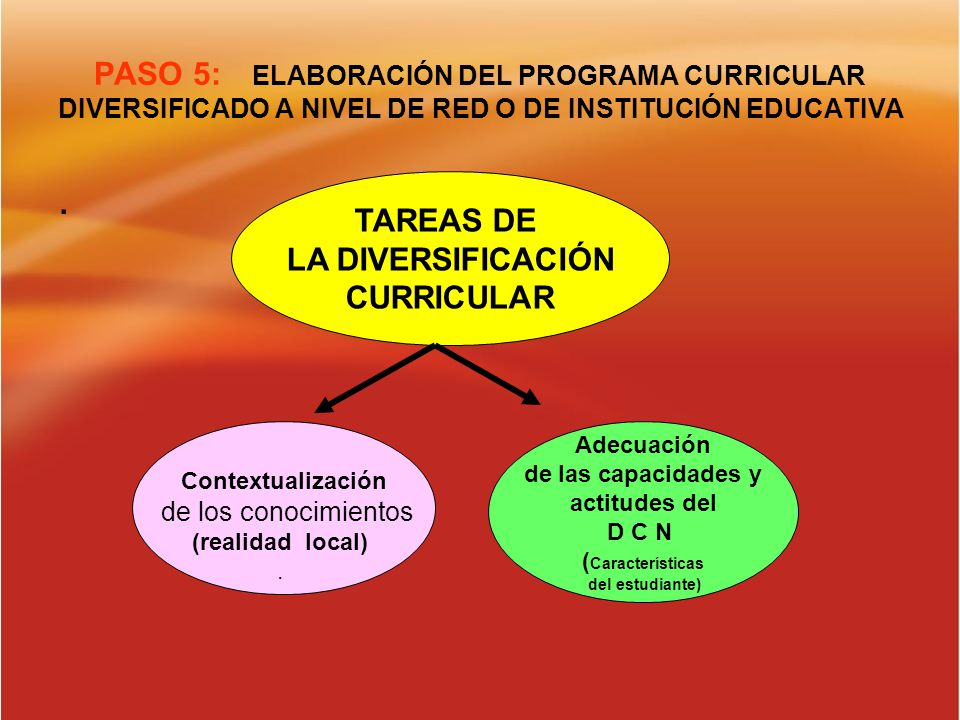 PASO 5: ELABORACIÓN DEL PROGRAMA CURRICULAR DIVERSIFICADO A NIVEL DE RED O DE INSTITUCIÓN EDUCATIVA. TAREAS DE LA DIVERSIFICACIÓN CURRICULAR Contextua
