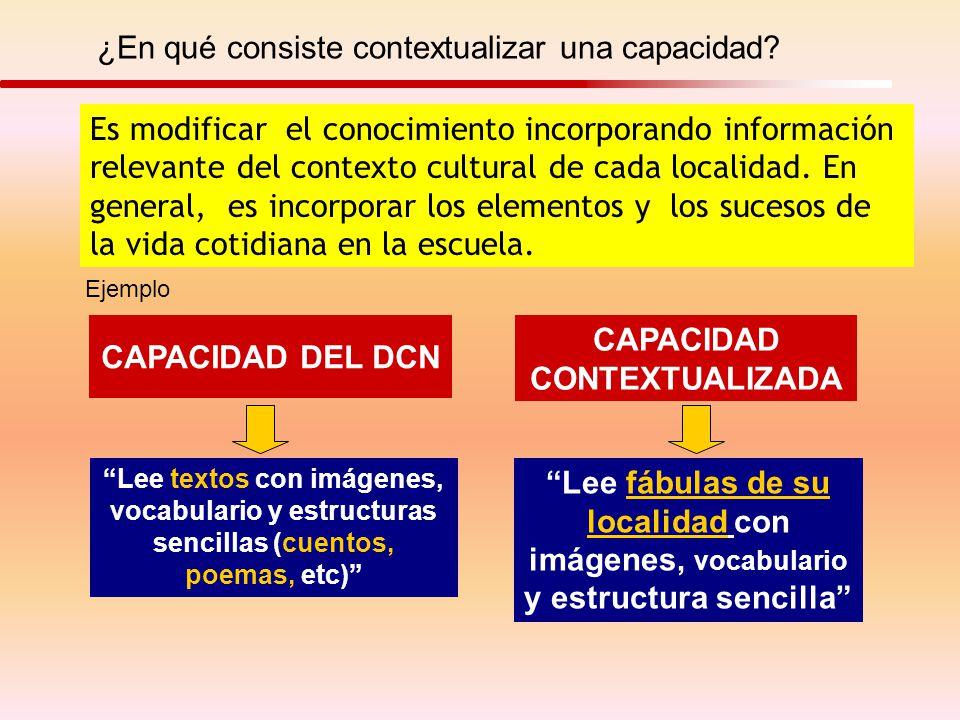 ¿En qué consiste contextualizar una capacidad? Es modificar el conocimiento incorporando información relevante del contexto cultural de cada localidad