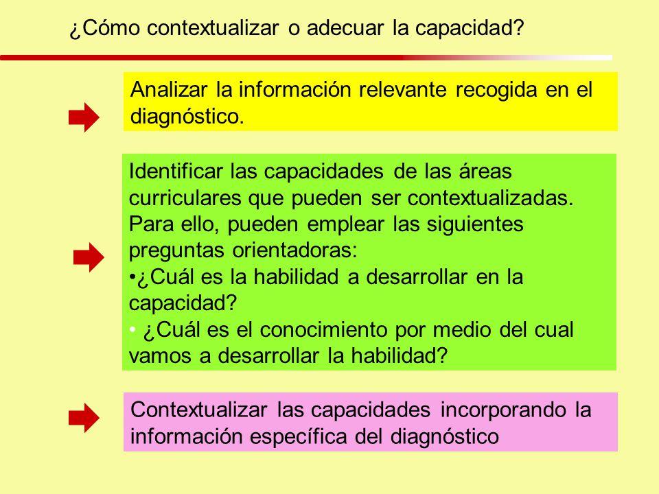 ¿Cómo contextualizar o adecuar la capacidad? Analizar la información relevante recogida en el diagnóstico. Identificar las capacidades de las áreas cu
