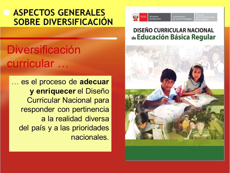 ASPECTOS GENERALES SOBRE DIVERSIFICACIÓN … es el proceso de adecuar y enriquecer el Diseño Curricular Nacional para responder con pertinencia a la rea