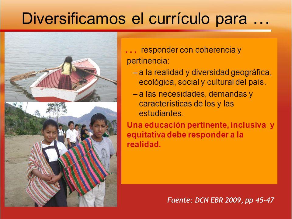 Diversificamos el currículo para … … responder con coherencia y pertinencia: –a la realidad y diversidad geográfica, ecológica, social y cultural del
