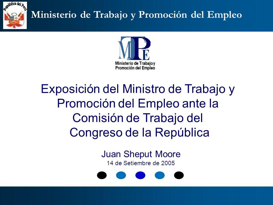 Ministerio de Trabajo y Promoción del Empleo Beneficios: Reincorporación o reubicación Estado actual de la ejecución del beneficio de reincorporación: (06.09.05) (*) Ex trabajadores que pasan directamente a la reubicación DENOMINACIONINSCRITOS REINCORPORADOSPENDIENTES NUMERO% % GOBIERNOS LOCALES90119221,3170978,69 GOBIERNOS REGIONALES222123610,63198589,37 MINISTERIOS74317123,0157276,99 EMPRESAS DEL ESTADO173623813,71149886,29 OTRAS ENTIDADES PUBLICAS343764618,80279181,20 EMPRESAS LIQUIDADAS O PRIVATIZADAS (*) 86500,00865100,00 TOTALES :9903148314,98842085,02