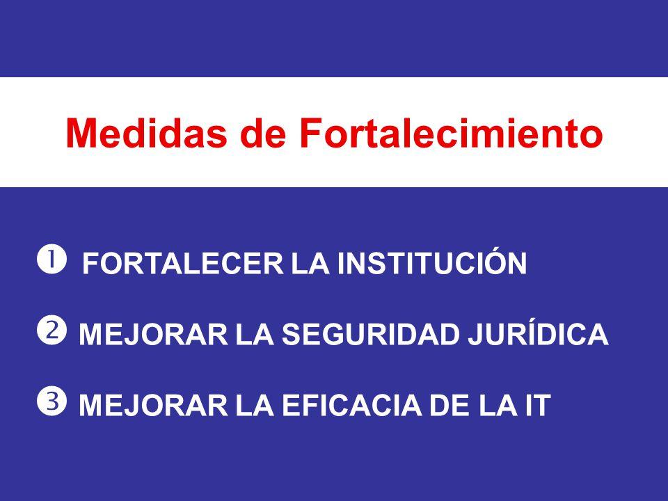 FORTALECER LA INSTITUCIÓN MEJORAR LA SEGURIDAD JURÍDICA MEJORAR LA EFICACIA DE LA IT Medidas de Fortalecimiento