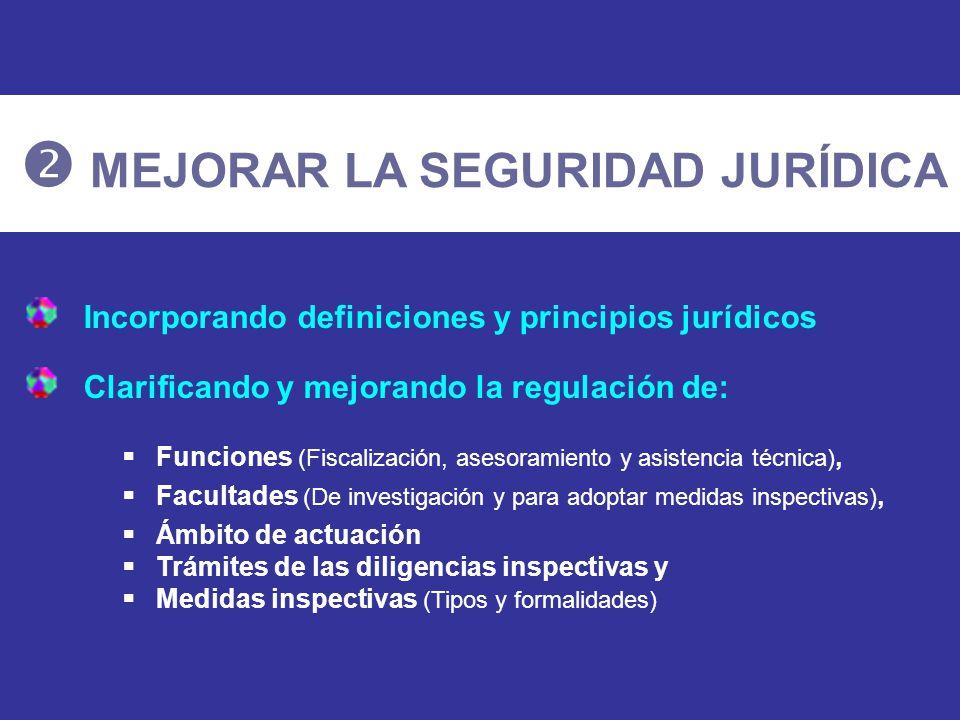 Incorporando definiciones y principios jurídicos Clarificando y mejorando la regulación de: Funciones (Fiscalización, asesoramiento y asistencia técni