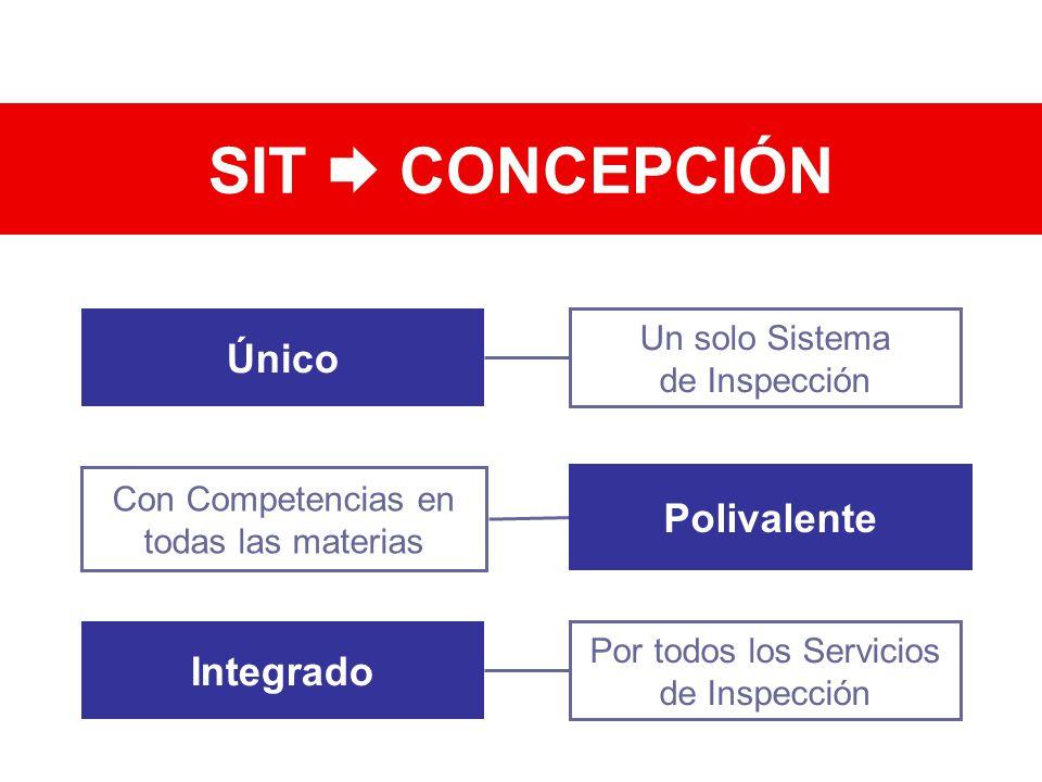 Único Un solo Sistema de Inspección Con Competencias en todas las materias Integrado Por todos los Servicios de Inspección SIT CONCEPCIÓN Polivalente