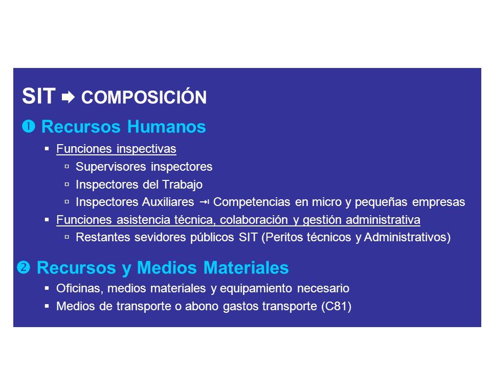 SIT COMPOSICIÓN Recursos Humanos Funciones inspectivas Supervisores inspectores Inspectores del Trabajo Inspectores Auxiliares Competencias en micro y