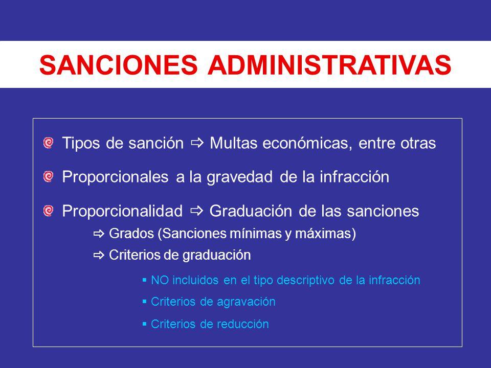 SANCIONES ADMINISTRATIVAS Tipos de sanción Multas económicas, entre otras Proporcionales a la gravedad de la infracción Proporcionalidad Graduación de