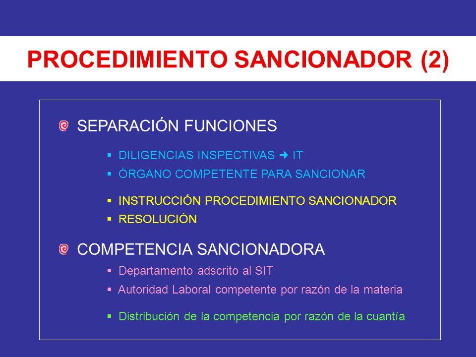 PROCEDIMIENTO SANCIONADOR (2) SEPARACIÓN FUNCIONES DILIGENCIAS INSPECTIVAS IT ÓRGANO COMPETENTE PARA SANCIONAR INSTRUCCIÓN PROCEDIMIENTO SANCIONADOR R