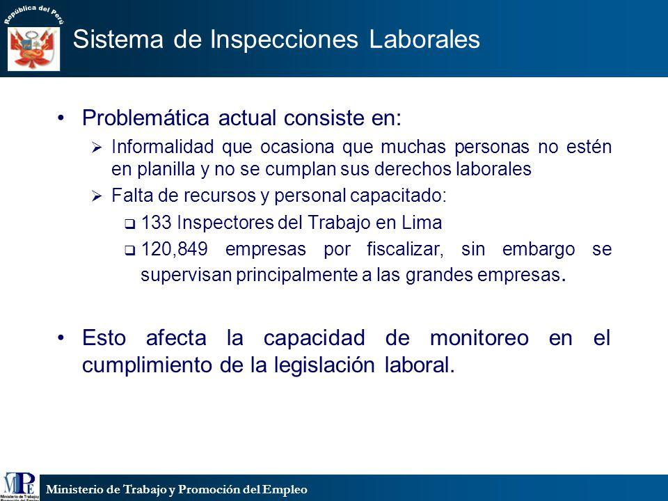Ministerio de Trabajo y Promoción del Empleo Sistema de Inspecciones Laborales Problemática actual consiste en: Informalidad que ocasiona que muchas p