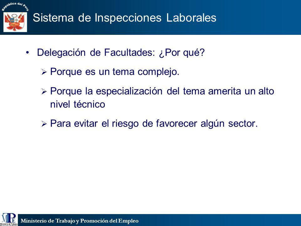 Ministerio de Trabajo y Promoción del Empleo Sistema de Inspecciones Laborales Delegación de Facultades: ¿Por qué? Porque es un tema complejo. Porque
