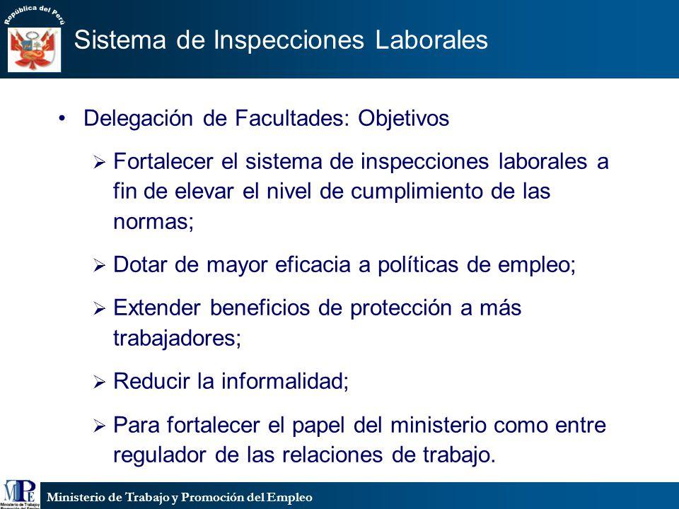Ministerio de Trabajo y Promoción del Empleo Sistema de Inspecciones Laborales Delegación de Facultades: Objetivos Fortalecer el sistema de inspeccion