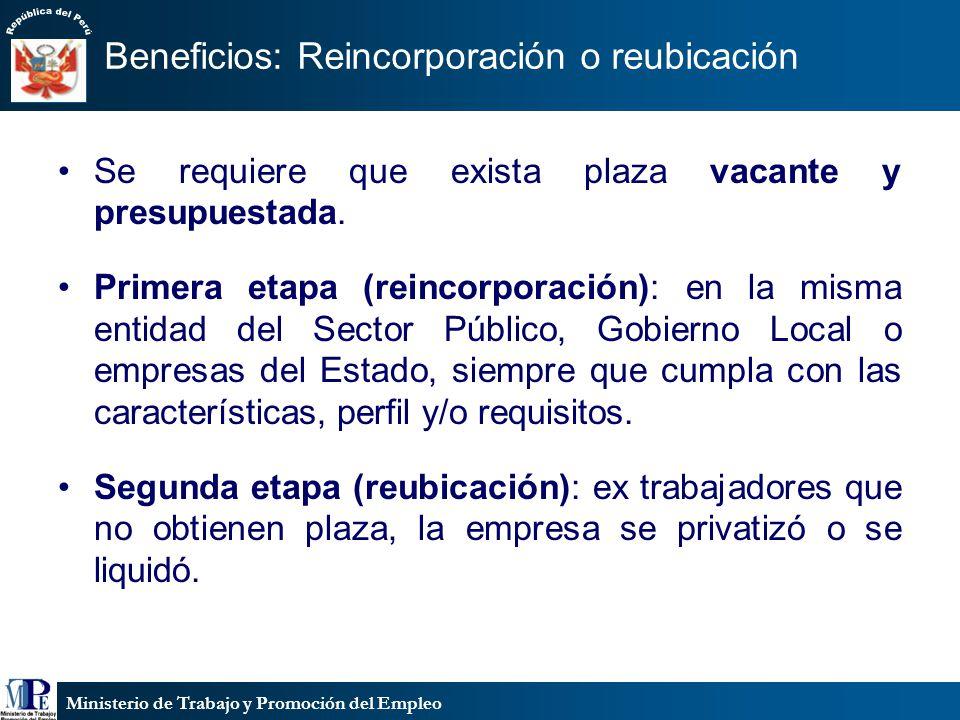 Ministerio de Trabajo y Promoción del Empleo Se requiere que exista plaza vacante y presupuestada. Primera etapa (reincorporación): en la misma entida