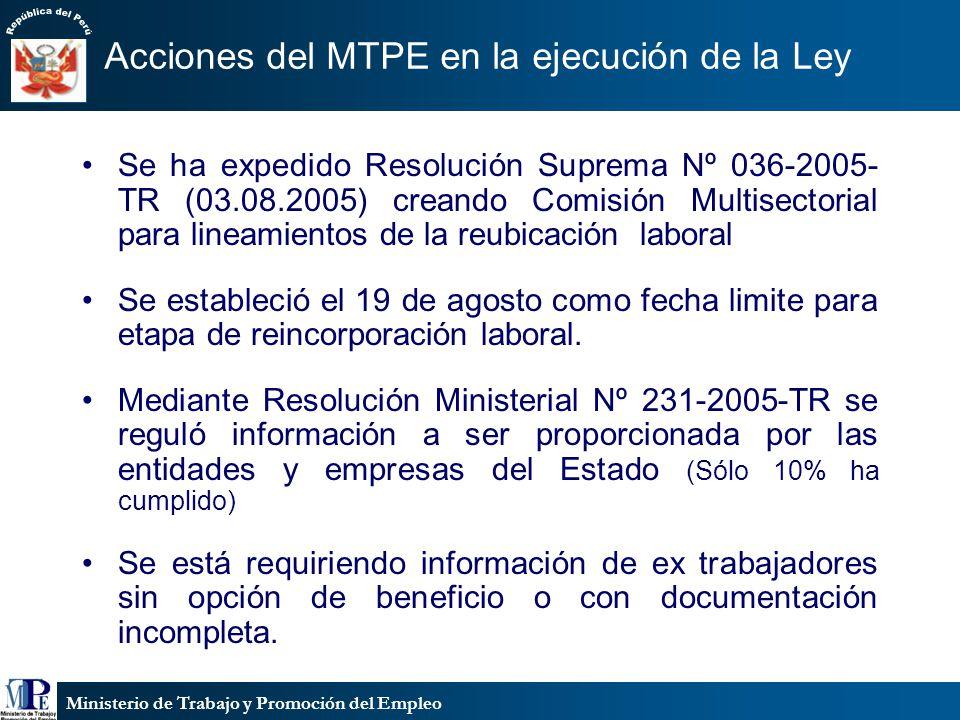 Ministerio de Trabajo y Promoción del Empleo Acciones del MTPE en la ejecución de la Ley Se ha expedido Resolución Suprema Nº 036-2005- TR (03.08.2005