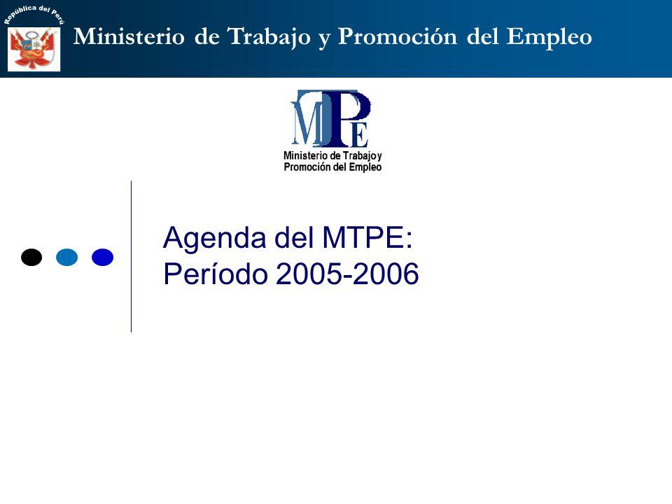 Ministerio de Trabajo y Promoción del Empleo Agenda del MTPE: Período 2005-2006