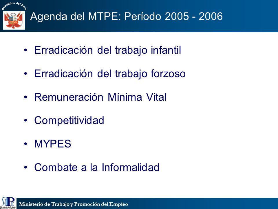 Ministerio de Trabajo y Promoción del Empleo Agenda del MTPE: Período 2005 - 2006 Erradicación del trabajo infantil Erradicación del trabajo forzoso R