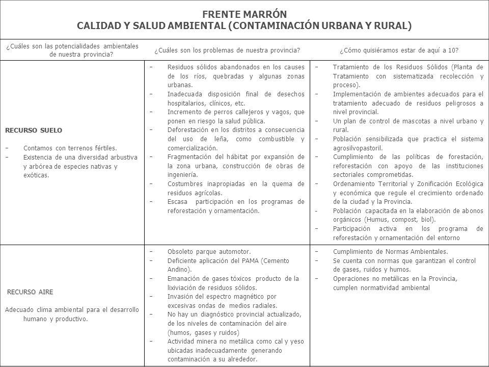 FRENTE MARRÓN CALIDAD Y SALUD AMBIENTAL (CONTAMINACIÓN URBANA Y RURAL) ¿ Cu á les son las potencialidades ambientales de nuestra provincia? ¿ Cu á les