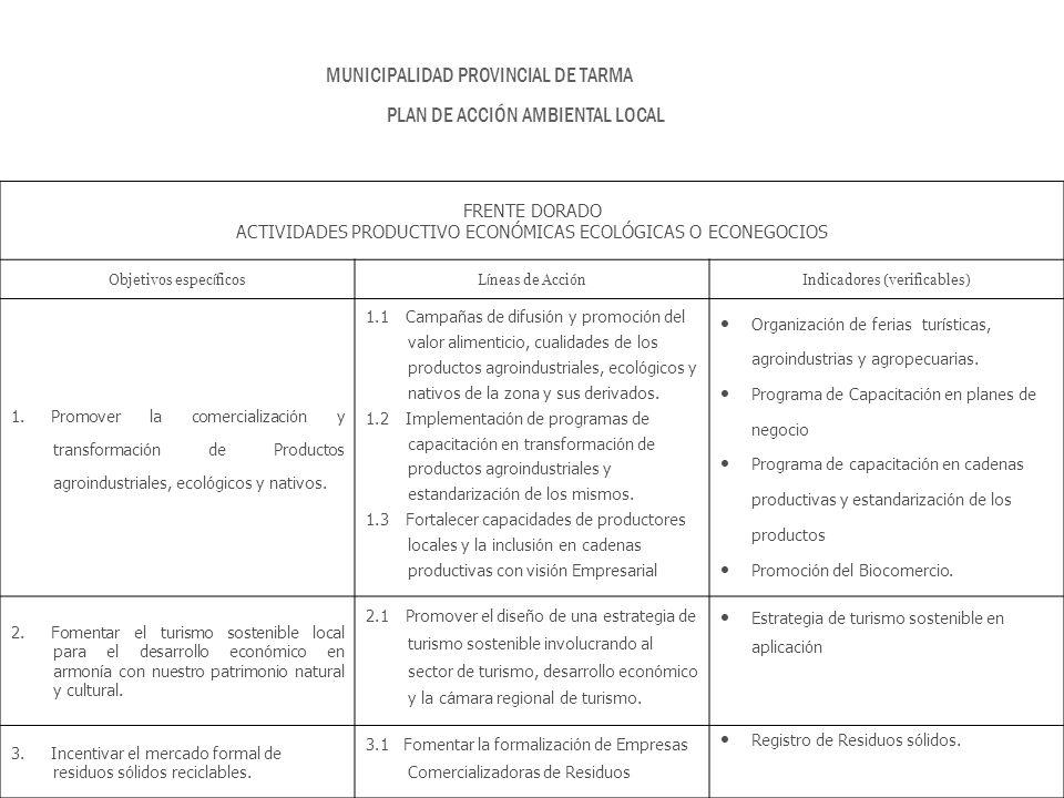 FRENTE DORADO ACTIVIDADES PRODUCTIVO ECONÓMICAS ECOLÓGICAS O ECONEGOCIOS Objetivos espec í ficosL í neas de Acci ó n Indicadores (verificables) 1. Pro