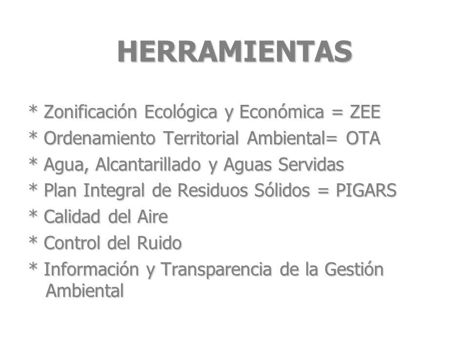 HERRAMIENTAS * Zonificación Ecológica y Económica = ZEE * Ordenamiento Territorial Ambiental= OTA * Agua, Alcantarillado y Aguas Servidas * Plan Integ