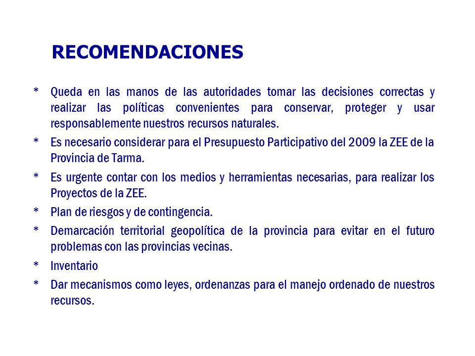 RECOMENDACIONES * Queda en las manos de las autoridades tomar las decisiones correctas y realizar las políticas convenientes para conservar, proteger