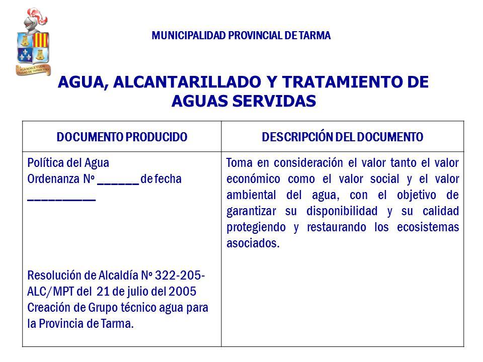AGUA, ALCANTARILLADO Y TRATAMIENTO DE AGUAS SERVIDAS DOCUMENTO PRODUCIDODESCRIPCIÓN DEL DOCUMENTO Política del Agua Ordenanza Nº ______ de fecha _____