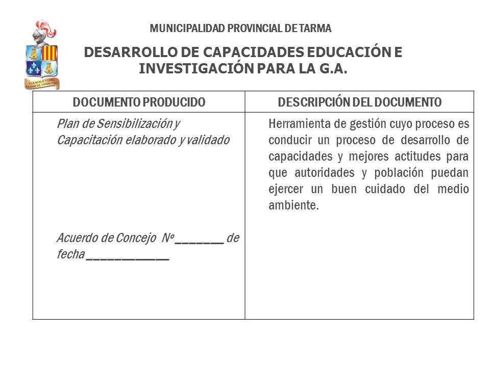 DOCUMENTO PRODUCIDODESCRIPCIÓN DEL DOCUMENTO Plan de Sensibilización y Capacitación elaborado y validado Acuerdo de Concejo Nº _______ de fecha ______
