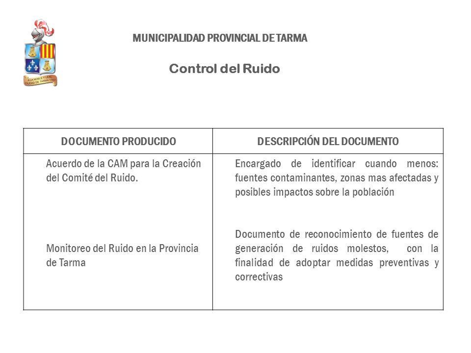 DOCUMENTO PRODUCIDODESCRIPCIÓN DEL DOCUMENTO Acuerdo de la CAM para la Creación del Comité del Ruido. Monitoreo del Ruido en la Provincia de Tarma Enc