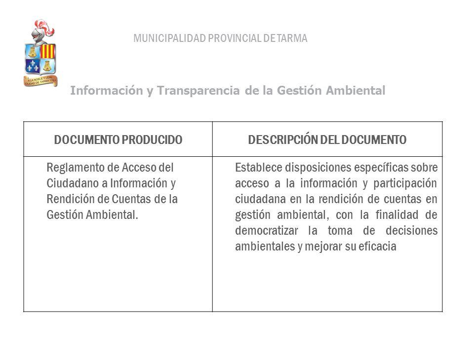 DOCUMENTO PRODUCIDODESCRIPCIÓN DEL DOCUMENTO Reglamento de Acceso del Ciudadano a Información y Rendición de Cuentas de la Gestión Ambiental. Establec
