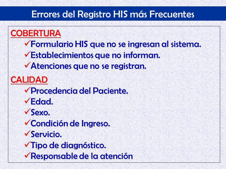 Errores del Registro HIS más Frecuentes COBERTURA Formulario HIS que no se ingresan al sistema.